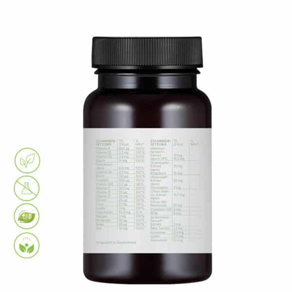 CBD Vital All Day 7/24 Kapseln Multivitamin MN von Vitrasan - Inhaltsstoffe & Makros