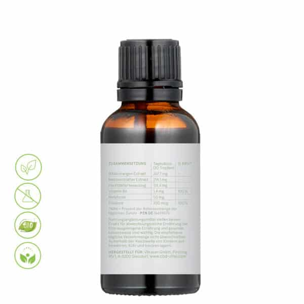 CBD Vital Schlaftropfen mit Hanf & Melatonin zum besseren einschlafen von Vitrasan- Inhaltsstoffe