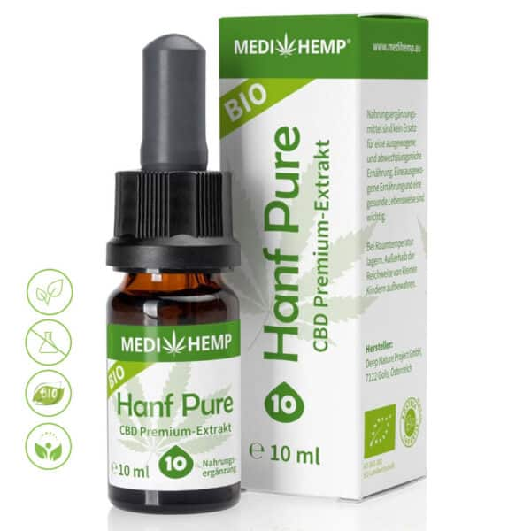 Bio Hanf CBD Öl - CBD Premium Extrakt 10% CBD von MediHemp
