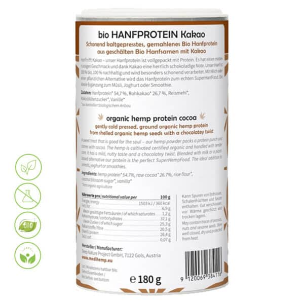 Bio Hanfprotein Kakao von MediHemp - Inhaltsstoffe & Makros