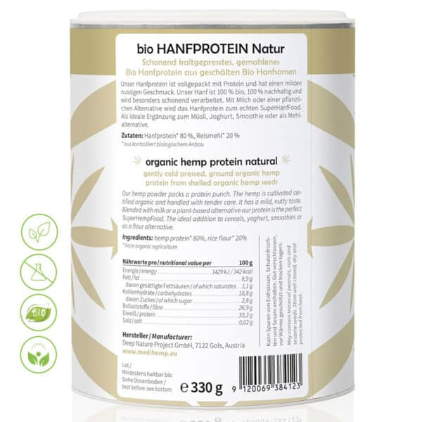 Bio Hanfprotein Natur von MediHemp - Inhaltsstoffe & Makros