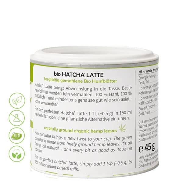 Bio Hatcha Latte Pur von MediHemp - Inhaltsstoffe