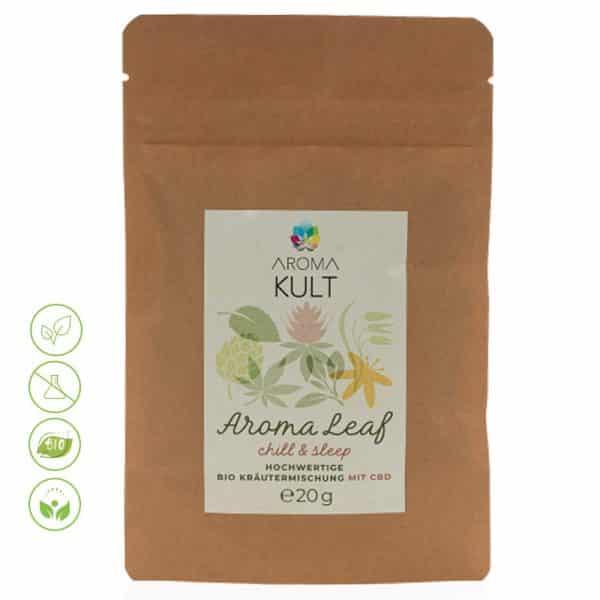 Bio Hanftee CBD Aroma Leaf chill & sleep Bio Kräutermischung von Aromakult